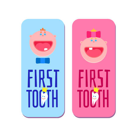 for boys: Baby first tooth for boys and girls banners with first tooth greetings Icon. Kids smile tooth with crown dental emblem. Flat children smile faces. Medic vector illustration.