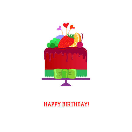 birthday cakes: Happy Birthday Cake with chocolate and fruits. Tasty chocolate cake vector illustration. Happy Birthday card for cake party invitation. Happy Birthday Cakes bakery Icon. Modern flat design. Illustration