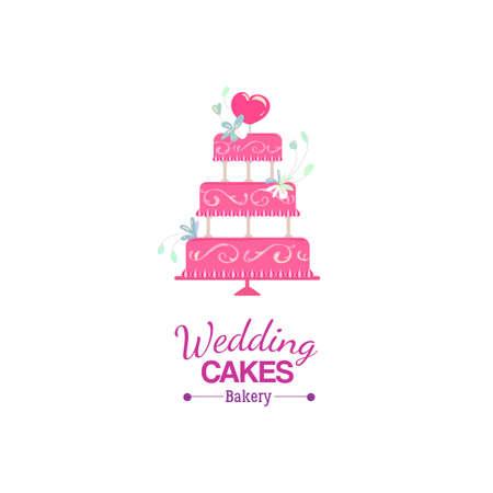wedding cake isolated: Vector wedding cake Icon decorated heart and flowers, isolated on white background. Wedding cakes bakery Icon. Flat icon of wedding cake. Marriage cake card. Flayer or banner for wedding cakes on-line order design. Illustration