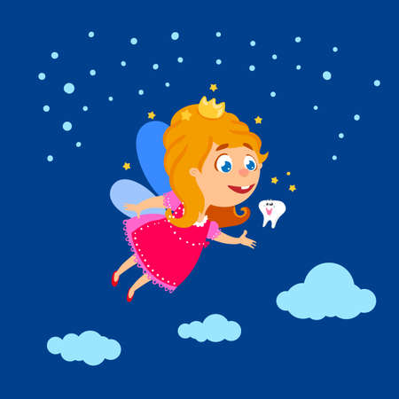 baby tooth: Tooth Fairy at night sky with baby tooth vector illustration. Baby girl with crown and magic wings. Tooth Fairy day fun greeting card. Cartoon drawn character of flying Teeth Fairy.