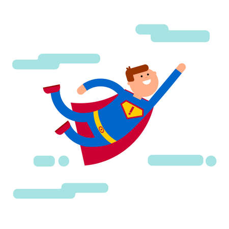 business metaphor: Superhero fly to direct. Cartoon character vector illustration. Flat superhero at the sky. Smile super power man. Super brave and strength  business metaphor. Superhero leadership idea. Illustration