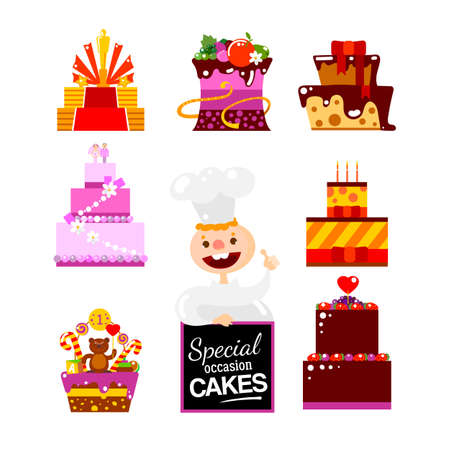 confectioner: Confectioner Chef vector character with flat design cakes set. Pastry cakes menu illustration. Pastry-cook. Cakes menu. Wedding, party, kids, birthday ideas cakes. Fruit decorated Diet pastry