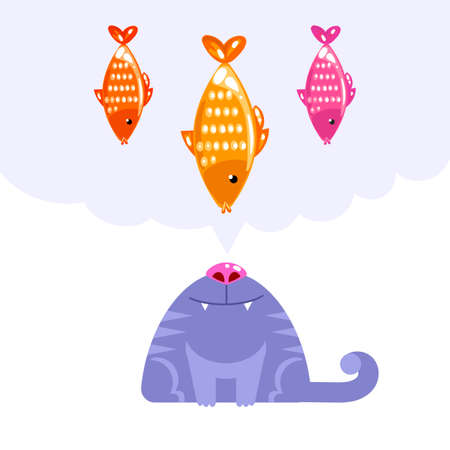 whisker characters: Vector illustration of cat character looking up and dream about fish on white background. Hand draw humor sea food concept. Cat and fish flat art design for web, site, banner, poster, print and card Illustration