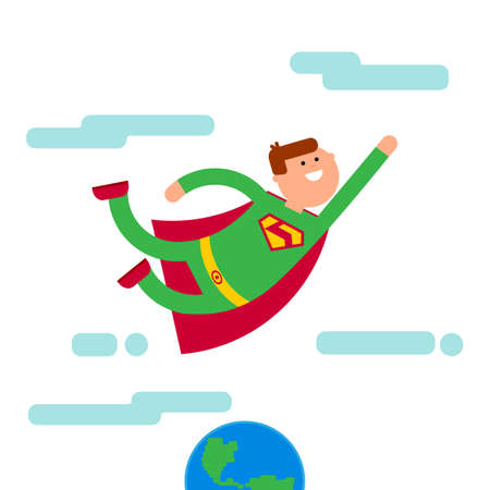 tights: Superhero with sile in green tights and suit fly away from Eath. Superhero flying high in the sky. Lost nature, eco concept. Abstract superhero flat character with cloud.