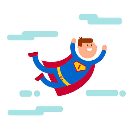 man symbol: Superhero flat cartoon character illustration. Fly in the sky banner. Super brave concept. Superhero smile and strong man. Superhero comic character