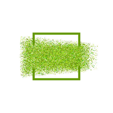 astract: Astract green dots particles vector background. Nature dots frame. Eco friendly premium style border. Computer graphics element. Season summer abstract frame design. Illustration