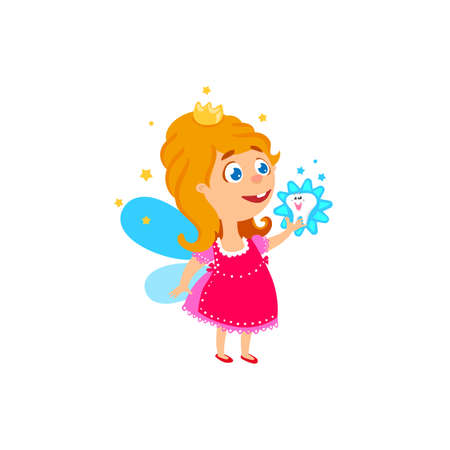 fairy  tail: Tooth fairy girl cartoone character with smile kids tooth vector illustration. Baby teeth fairy. Cute hand drawn greeting card for Tooth Fairy Day. Funny smiling character of tooth fairy Illustration