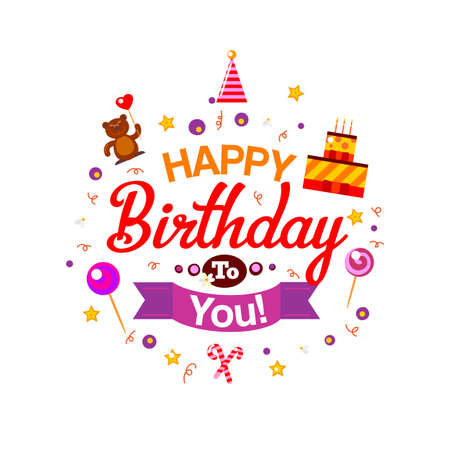 beer party: Vector happy birthday card. Birthday cake and gifts. Vector Illustration. Happy Birthday kids party invitation. Fun typography celebration elements. Cartoon design for happy birthday to you greetings