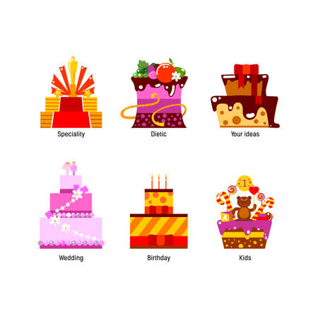 tastes: Holiday, birthday, wedding cakes. Special, party colorful flat design cake icons set. Bakery elements for web and mobile order applications. All tastes of cakes. Vector cakes collection for on-line menu.