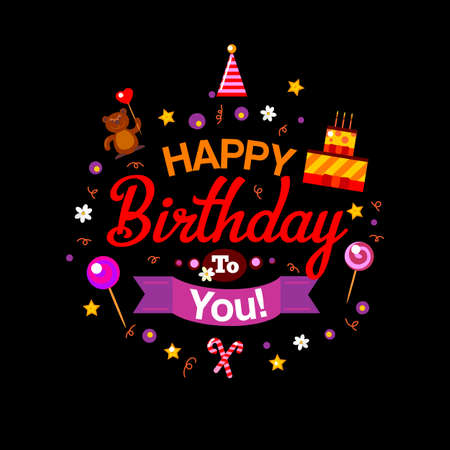 bright cake: Bright vector happy birthday card at black background. Birthday cake and gifts. Vector Illustration. Happy Birthday kids party invitation. Fun typography celebration design. Happy birthday to you