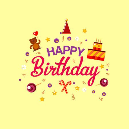 Feliz tarjeta de regalo de cumpleaños. tarta de cumpleaños y juguetes. Ilustración del vector. invitación de fiesta de los niños del feliz cumpleaños. elementos de celebración de la tipografía de la diversión. Diseño de la historieta para los saludos de feliz cumpleaños