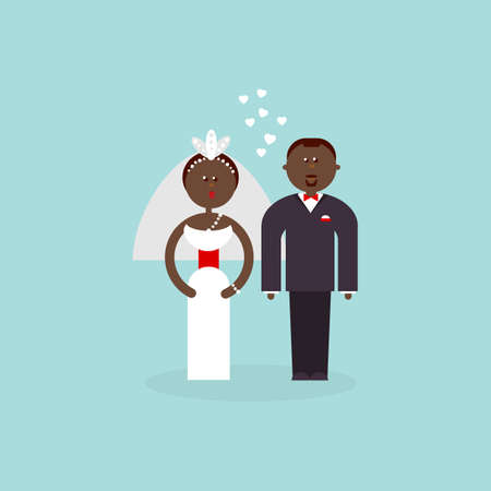 getting married: African American couple getting married. Bride and Groom flat figures illustration. Classic wedding flat. Traditional bride groom cartoon. Wedding couple for invites, cakes.