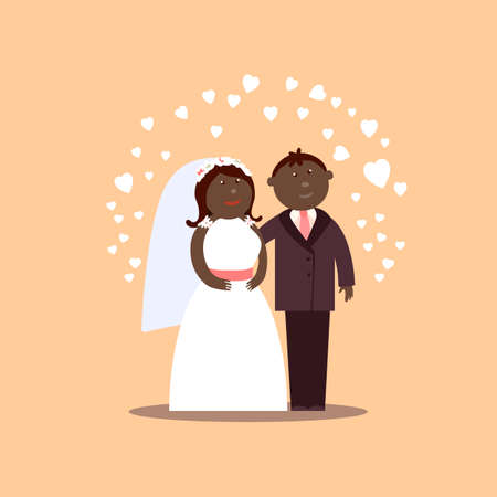 getting married: African American couple getting married. Bride and Groom cartoon figures with hearts for love  illustration. Classic wedding cartoon characters. Traditional bride groom cartoon. Wedding couple