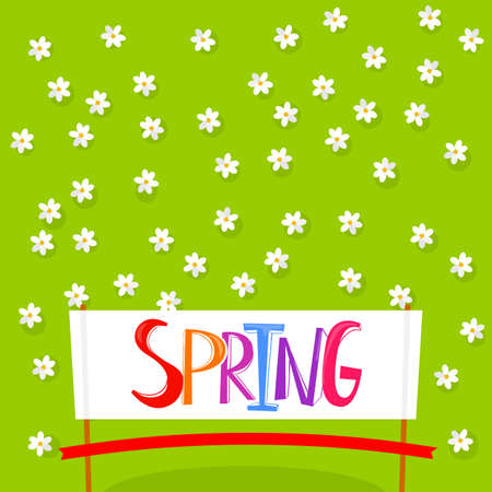 red tape: Spring Time lettering on white banner background with flowers. Spring floral background. Spring flowers background for banner design. Top view of green field with flowers pattern and cut red tape