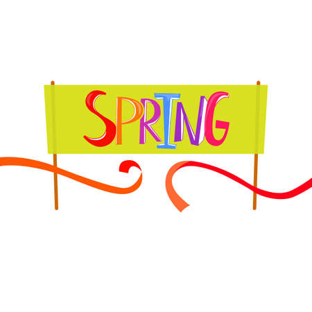 starting line: Spring Time lettering on banner background. Spring start and finish concept. Banner design with cut red tape. Starting line. Finish line ribbon.