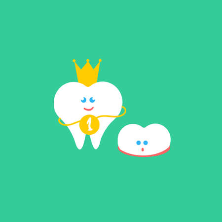 incisor: Dental cartoon flat illustration. Kids teeth grow. Child tooth. First tooth with crown and medal and small growth milk tooth characters. Cute children dental health banner, card. Smile teeth couple. Illustration