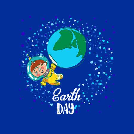 stock art: Creative World Environment Day Greeting stock  art. Earth Day space kids illustration with planet and astronaut. April holiday illustration with cartoon earth planet, young astronaut, and typography tag. Save green earth card.