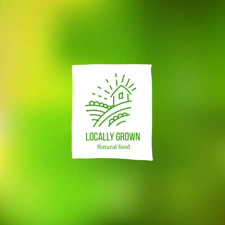home grown: Hand sketch Locally grown tag with farmer home and field at green background. Eco friendly farm product label. Food market hand drawn icon. Vegetarian and healthy diet. Farm fresh organic food. Natural food tag for packaging. Illustration