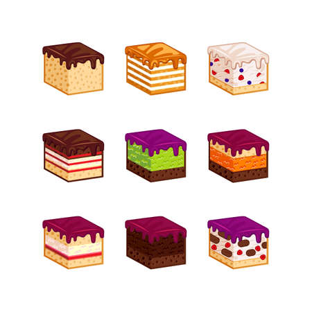 strawberry cake: Flat design cake piese icons. Cartoon cake flavour illustration. Cake slice isolated set. Birthday cake order infogaphics.  Pieces of cake. Chocolate, berries, tiramisu, meringue, honey cake, sour cream, diet pie slices Illustration