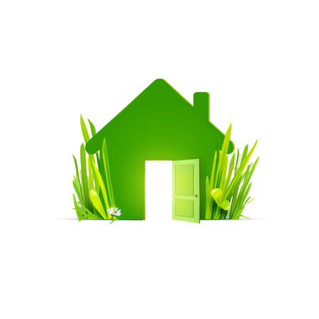 green building: Eco home - template flat icon with realistic grass. Ecological construction, natural materials, cottage village. Green house icon,  eco home icon,  energy efficient home sign. Green energy.