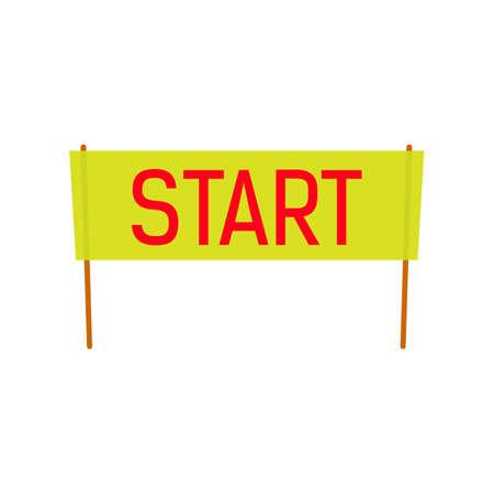 starting line: Start Banner vector illustration for spring and summer season design. Red start word. Flat style. starting line horisontal tape. Illustration