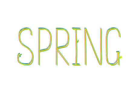 seson: Spring word. Drawn lettering with leves. Vector illustration for seson design. Colorful label. Illustration