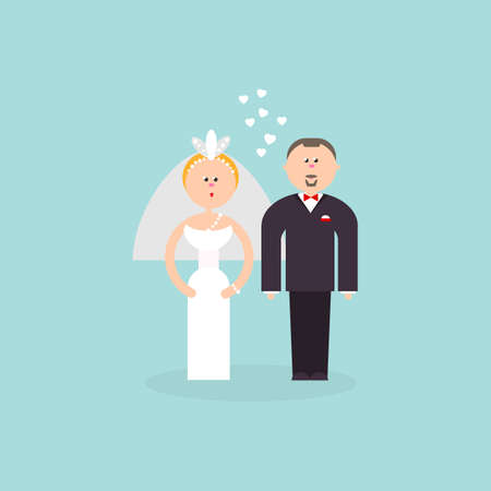 getting married: Bride and Groom with love flat vector figures illustration. Classic wedding couple. Traditional bride, groom cartoon for wedding invitation design. Couple getting married symbol for invites, cakes and  wedding design. Illustration