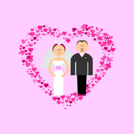 getting married: Bride and Groom with love flat vector figures at romance pink background. Classic wedding couple. Traditional bride, groom cartoon for wedding invitation. Couple getting married symbol card