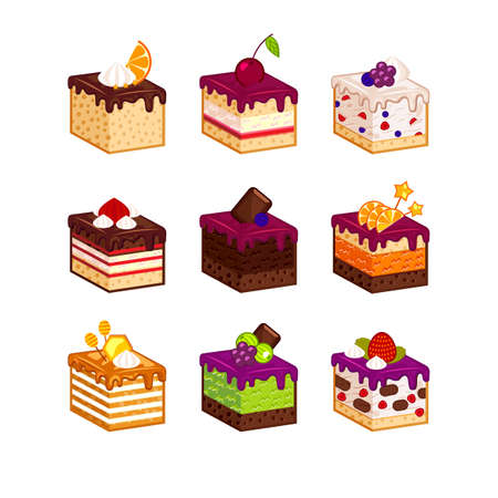 Flat design cake piese icons with flavour decor. Cartoon cakes flavour vector illustration. Cake slice isolated set. Birthday cake order infogaphics.  Pieces of cake. Chocolate, berries, tiramisu, meringue, honey cake, sour cream, diet pie slices