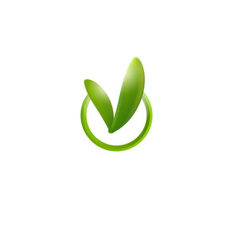 green check mark: Green check mark with reaves. Sprouts sign for organic certification. Bio product sign. Correct icon. Freshness exam ok sign. Modern Vector illustration. Circle emblem with natural leaf. Illustration