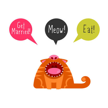 meow: Flat cat with speech bubbles and saying meow, eat, get married. Illustration