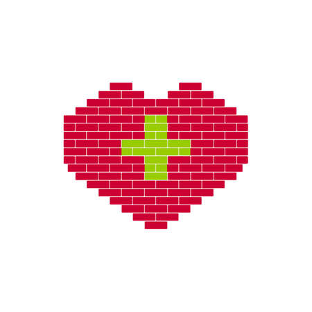 green cross: Heart Shape created from building bricks. Red shape with green cross. Sign for medicine, healthcare,  Charitable Foundation.