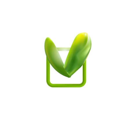green check mark: Green check mark. Leaves chek icon. Illustration