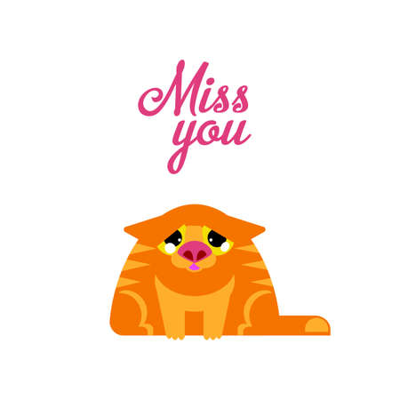 miss: Miss you typography card with red sad cat illustration.