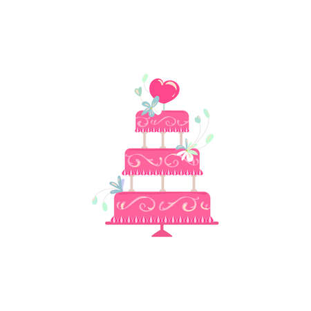 cake stand: Wedding and Holidays party cake isolated on a white background. Cake stand vector illustration. Pink cake with flowers decor for birthday with love idea.
