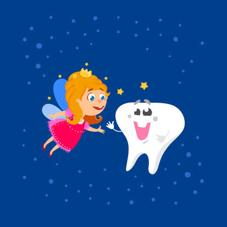 crown wings: Cute hand drawn greeting card for Tooth Fairy Day as funny smiling cartoon character of tooth fairy with crown, wings and big kids tooth with smile. First tooth greetings card. Vector illustration Illustration