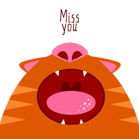 cat open: Flat style cat illustration say Miss you. Open cat mouth. Missing cat funny character. Romans card