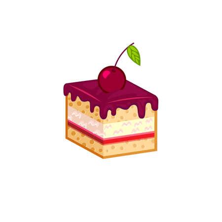cake slice: Cherry cake slice isolated on white background. Vector illustration for tasty bakery