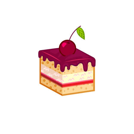 choc: Cherry cake slice isolated on white background. Vector illustration for tasty bakery