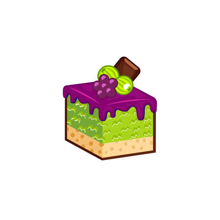 choc: Berries cake isolated on white background. Vector illustration for tasty slices bakery shop Illustration