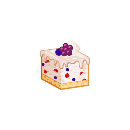 cottage cheese: Berries cake isolated on white background. Vector illustration for tasty slices bakery shop. Diet mousse pastry.