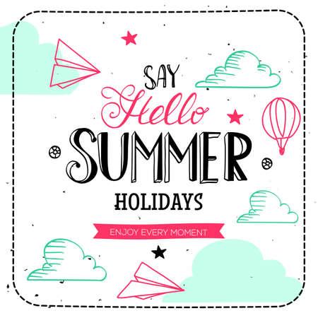 こんにちは言う夏の休日タイポグラフィ。ベクトル文字とかわいいイラストのカード。手描きデザインでは引用。