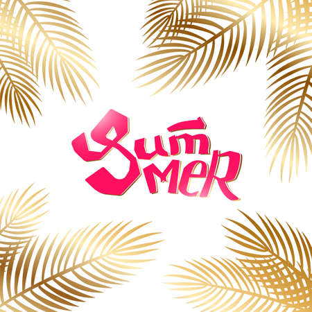 Summer quote with palm leaves. Vector season card with lettering. Tropical drawn text background. Trending golg and red colors. Vettoriali