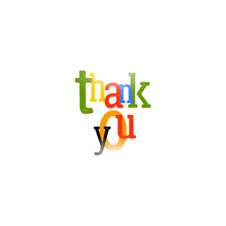 headline: Thank you logo. Colorful typography headline for print design. Illustration