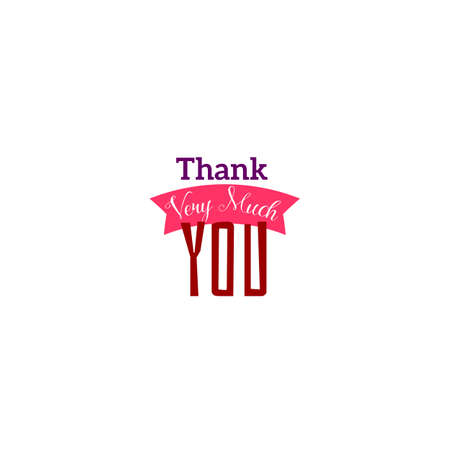 very: Thank you very much typography design with ribbon. Vector tag illustration