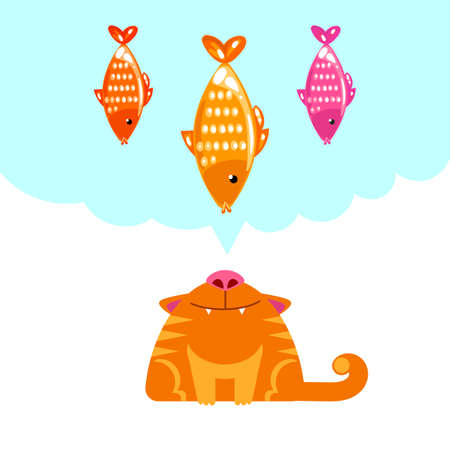 think tank: Cat looking up on fish. Cat wants to eat fish. Vector illustration. Modern flat style. Cat dream.