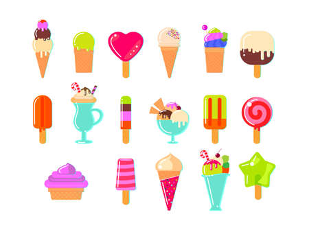 various: Ice cream and popsicles on white background. Flat vector illustration. All varieties of ice cream.