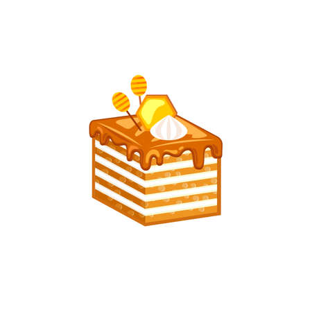 cake slice: Honey cake slice isolated on white background decorated honeycomb and meringues. Vector illustration for tasty bakery
