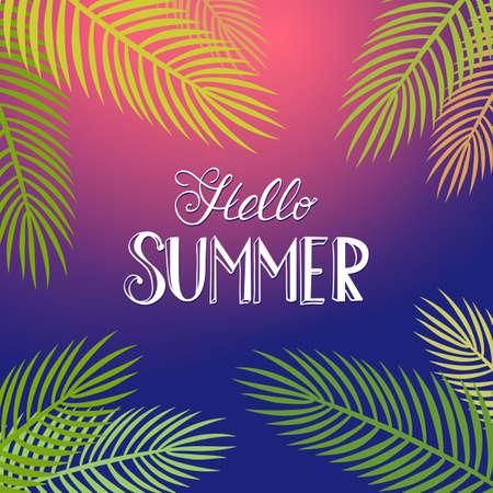 manifesto estate con foglie di palma e lettering. Estate sfondo notte tropicale