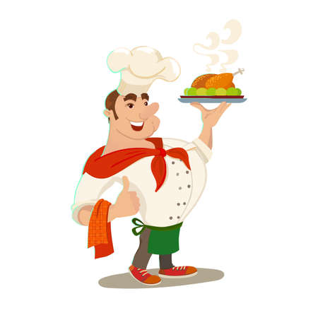 chicken dish: Chief cook. Waiter man with baked chicken dish. Cartoon cook with smile. Vector character. Illustration